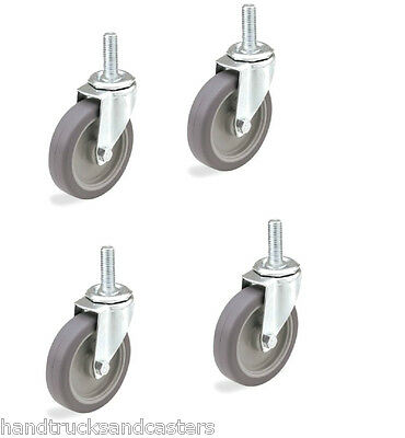 "Set of 4 Swivel Stem Casters with Gray Soft Rubber Wheel & 1/2"" Threaded Stems"