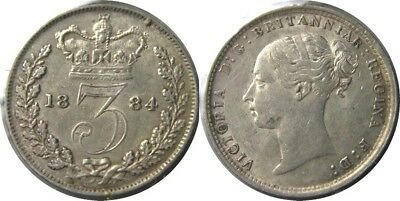 elf  Great Britain 3 Pence 1884 Silver  Victoria   Maundy