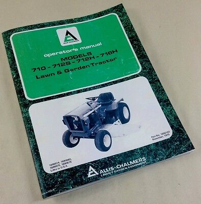 ALLIS CHALMERS B-210 B210 Lawn and Garden Tractor Operators Manual on
