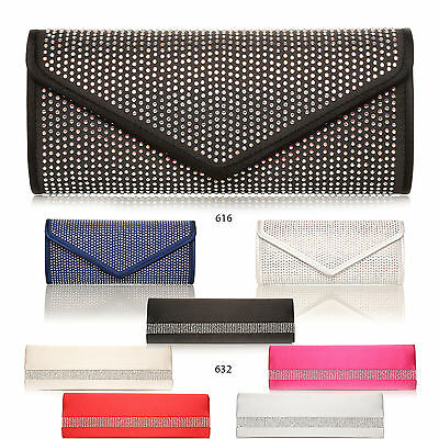 Bridal Party Satin Womens Clutch Bag Envelope Wide Diamante Diamond Wedding