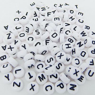 50 pcs 4x7mm Acrylic Individual Alphabet Letter Coin Round Flat Spacer Beads Z7