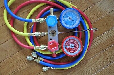 Al Alloy Manifold Gauge+5ft Hose Set R22 R134a+AC/HVAC Charge Diagnosis Recovery