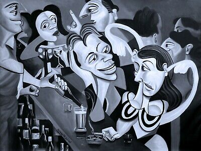 Talking Sweet Nothings At The Bar Original Painting Bar Cubism  Anthony R Falbo