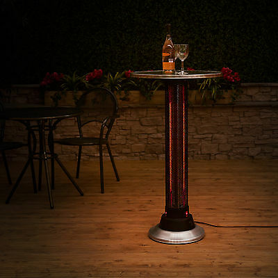 Fire Mountain Bar Table with Halogen Stainless Steel Mesh Patio Heater