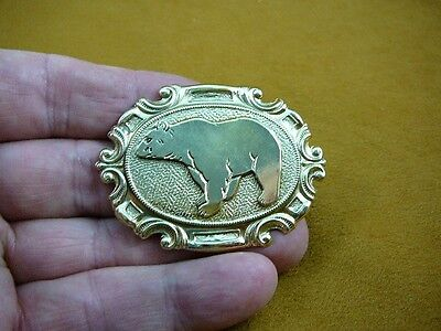 (B-bear-373) walking Grizzly bear oval scrolled brass pin pendant love bears
