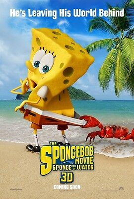 "SPONGEBOB 3D SPONGE OUT OF WATER 2015 Advance DS 2 Sided 27X40"" Movie Poster"