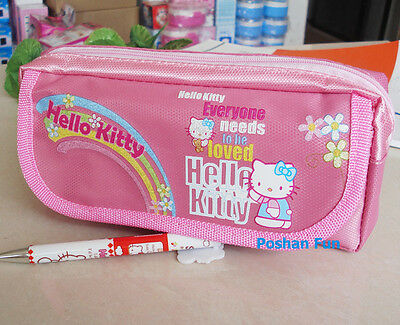 HELLO KITTY 21x10x3.5cm 2-Layers Pencil Stationery Cosmetic Case Bag Pouch Pink