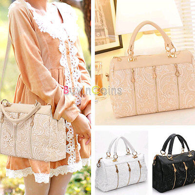 Beautiful Women Lace Leather Satchel Tote Hobo Handbag Shoulder Bag Style