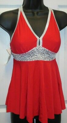 NWT Red Silver Sequin Top double camisole strap Lyrical Flag Drill medium child