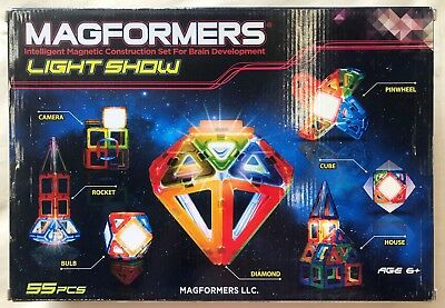 Magformers 55 Pcs Magnet Light Show Lighted Magnetic Construction Set 63092 NEW