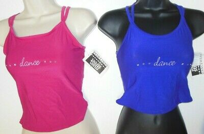 NWT CrissCross Double Camisole Embroidered rhinestones Ch/Ladies 3 colors Dance