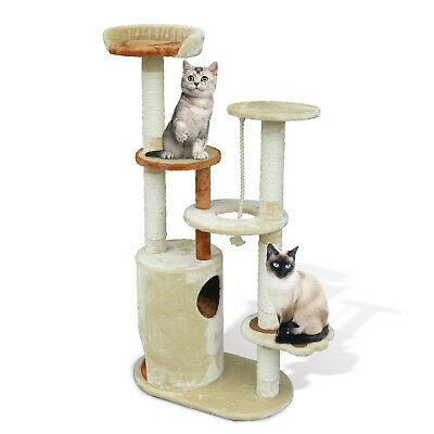 "55"" Kitty Cat Tree Scratching Post Condo Tower Furniture Play Center - Beige"