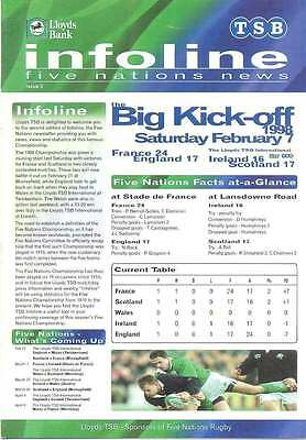 FIVE NATIONS CHAMP INFOLINE No 2 RUGBY NEWSLETTER JPR WILLIAMS WALES ITALY