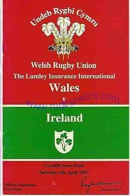 WALES v IRELAND 04 APRIL 1987 RUGBY PROGRAMME WITH COA