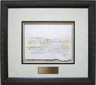 """FRAMED SLAVE DOCUMENT, Tennessee, dated 1853, Court Summons for """"Frank, a Slave"""""""