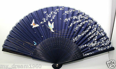 Chinese Japanese Folding Hand Silk Bamboo Floral Pattern Fan Brown