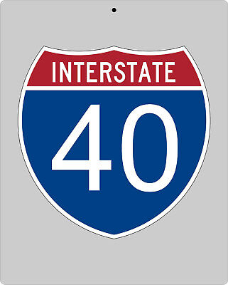 I-40 metal Interstate highway sign - Raleigh to Memphis to OKC to Albuquerque