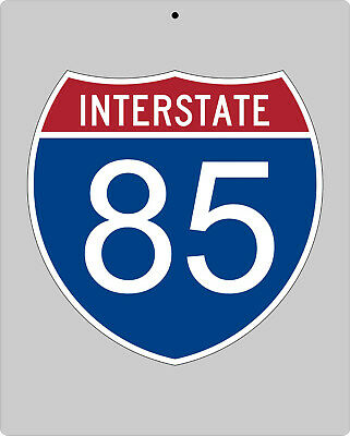 I-85 metal Interstate highway sign - Atlanta to Greenville to Charlotte