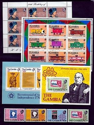 GAMBIA 1976-91 SELECTION OF x4 UHM M/S's RAILWAY ROWLAND HILL QUEEN MOTHER