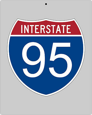 I-95 metal Interstate highway sign - Miami to Savannah to D.C. to New York