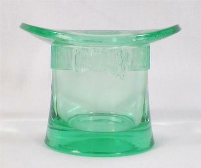 Apple Green Top Hat Toothpick Holder Early American Pressed Glass AS IS COND