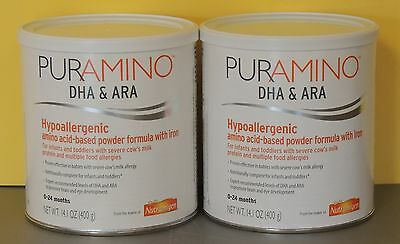2 - 14.1oz cans PURAMINO with DHA/ARA by NUTRAMIGEN - NEW