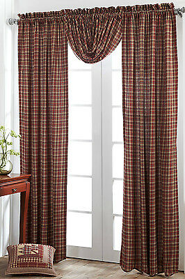 Braddock Window Panels Set of 2 Rustic Red Tan Plaid Lined Primitive Curtains