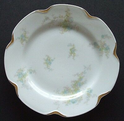 Beautiful rare ANTIQUE Hand Painted plate LIMOGES w/ BLUE ROSE Floral patterns