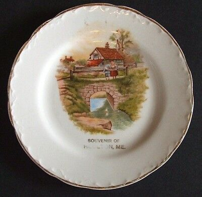 A great old west HOULTON MAINE antique SOUVENIR PLATE w/ kids overlooking stream