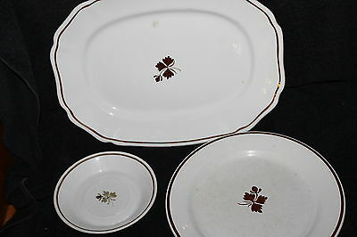 VINTAGE ALFRED MEAKIN ROYAL IRONSTONE PLATTER PLATE SAUCER CHINA BROWN TRIM