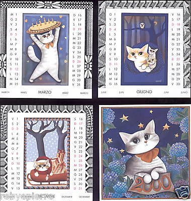 Mini Calendario Gatto Gatti Enicod Custodia Plexiglass