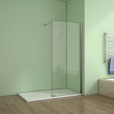 1200x700mm Stone Tray Easyclean Glass Walk In Wet Room Shower Enclosure Screen Q