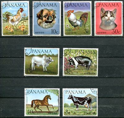 Panama 1967 Domestic Animals - Chickens - Cat - Horse Complete Set Of 4 Stamps!