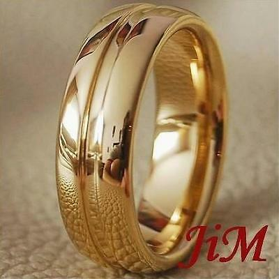 Mens Tungsten Ring 14K Gold Wedding Band Engagement Bridal Jewelry Size 6-15