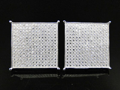 Mens 925 Sterling Silver White Simulated Diamond Square Studs Earrings 20mm