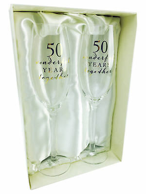 Happy 50th Golden Anniversary Pair of Champagne Glasses Gift WG66550