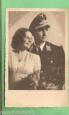 #b. #125  German Wwii Photo Postcard -  Officer & Lady