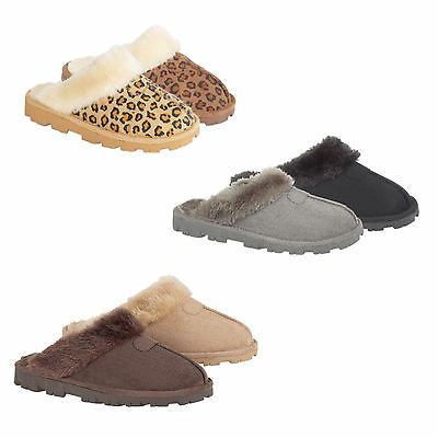 Ladies SIZE 3 - 8 Mules Slippers New Boxed Womens LEOPARD BLACK GREY BROWN BEIGE