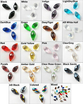 20Pcs Drip Drop Faceted Glass Crystal Rondelle Beads Charms Pendants 6x12mm K073