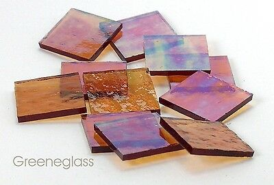 Amber Cathedral Iridized Mosaic Glass Tile - Cut to Order Shapes - Med Pack
