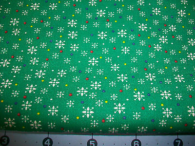 Little White Star Flowers On Green Cotton Quilt Fabric