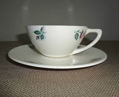 Knowles China Dinnerware Pink Rose & Leaf Pattern Cup & Saucer U.S.A. 51-6