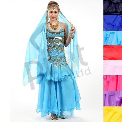 NEW Belly Dance Costume Set Dress Skirt Sequins Beads Bells Top Belt Gold Coins