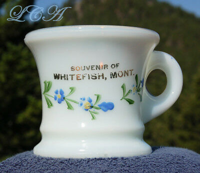 Ornate ORIGINAL antique WHITEFISH MONTANA souvenir MILK GLASS mug