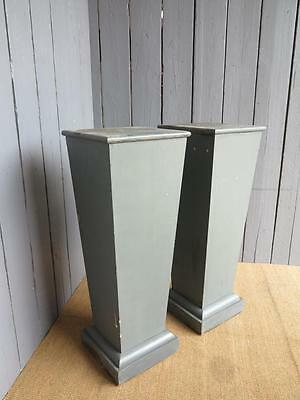 Pair of Grey Antique Wooden Painted Plinths - Ornaments Stands Display Units