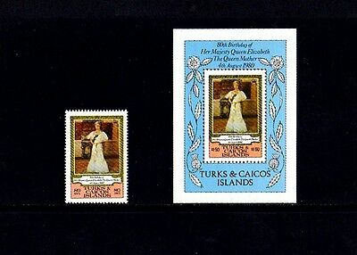 TURKS & CAICOS - 1980 - QUEEN MOTHER - 80th BIRTHDAY - MINT  SINGLE + S/SHEET!