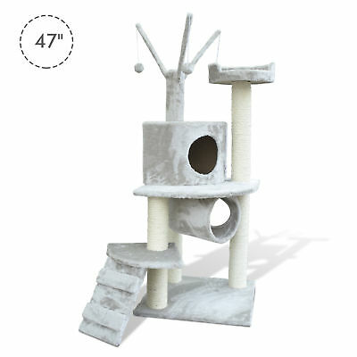 """47"""" Cat Tree Scratching Post Tower Kitty House Condo Tunnel Ladder w/ Toy Grey"""
