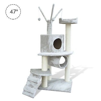 """PawHut 47"""" Cat Tree Scratching Post Kitty House Condo Tunnel Ladder w/ Toy Grey"""