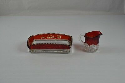 Vintage Lot Of 2 1903 Red Clear Crystal Condiment Sugar Matchbook Dish & Creamer