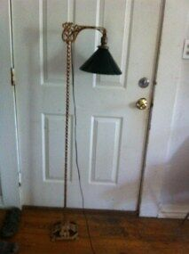 Vintage Antique Art Deco Twisted Iron Bridge Floor Lamp With Green Glass Shade
